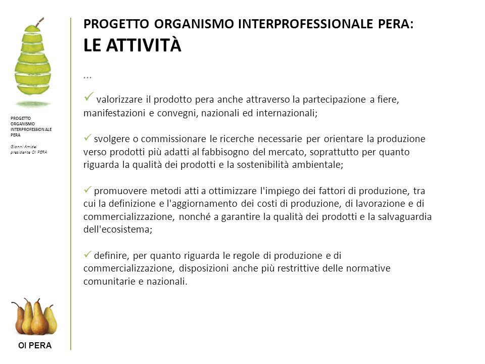 PROGETTO ORGANISMO INTERPROFESSIONALE PERA: LE ATTIVITÀ