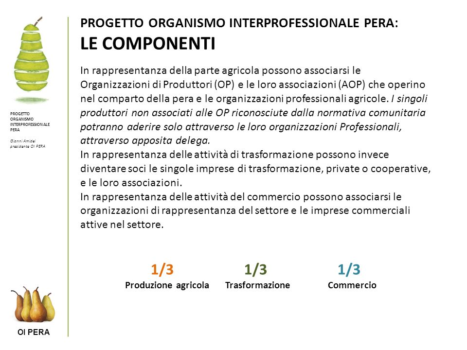 1/3 1/3 1/3 PROGETTO ORGANISMO INTERPROFESSIONALE PERA: LE COMPONENTI