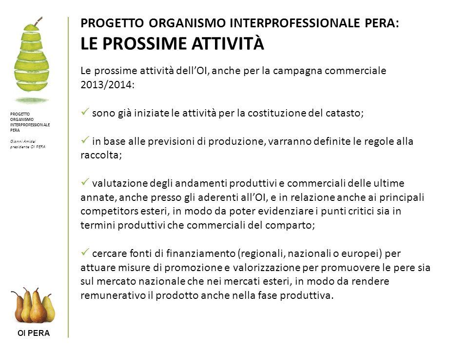 PROGETTO ORGANISMO INTERPROFESSIONALE PERA: LE PROSSIME ATTIVITÀ