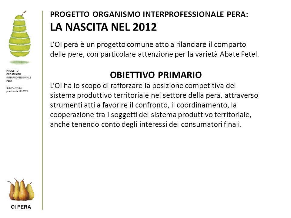 PROGETTO ORGANISMO INTERPROFESSIONALE PERA: LA NASCITA NEL 2012