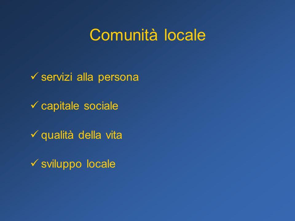 Comunità locale servizi alla persona capitale sociale