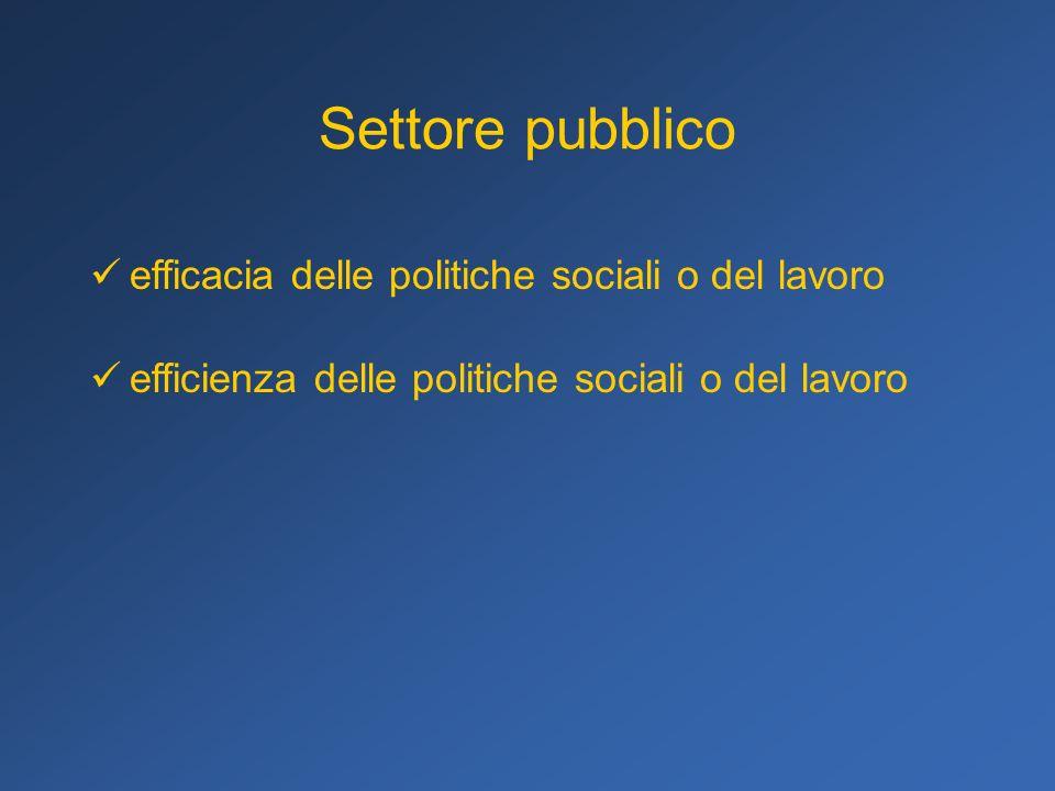 Settore pubblico efficacia delle politiche sociali o del lavoro