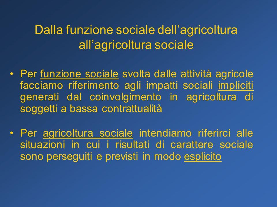 Dalla funzione sociale dell'agricoltura all'agricoltura sociale