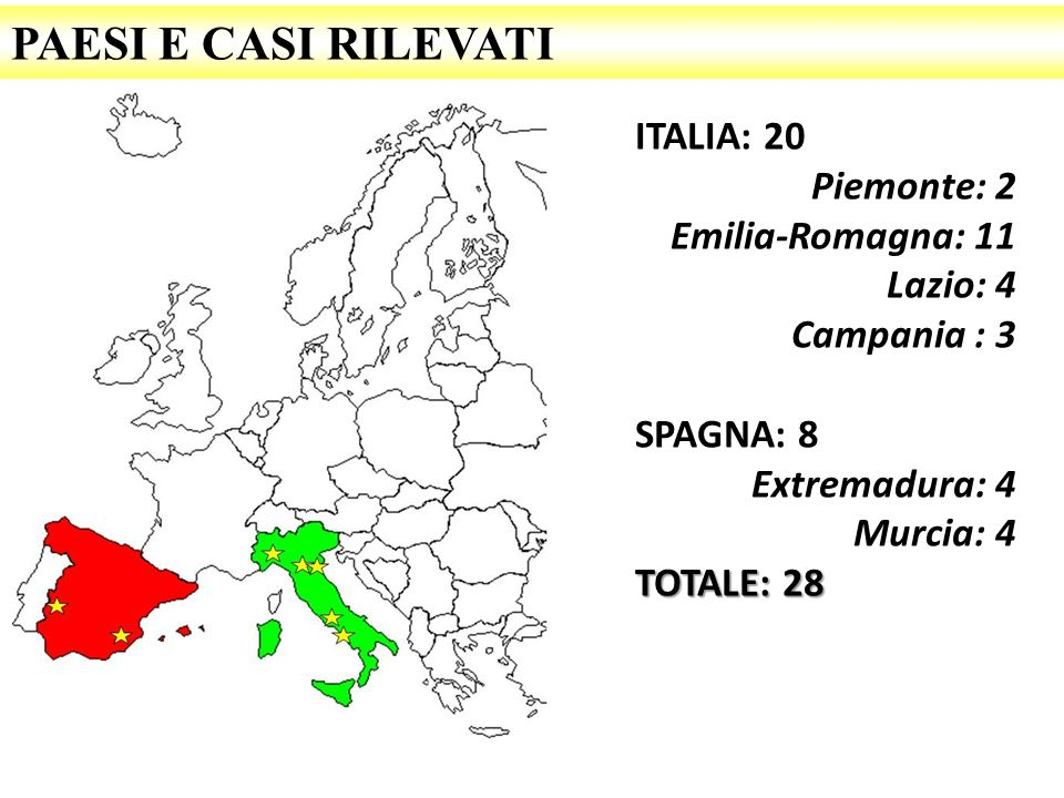 PAESI E CASI RILEVATI ITALIA: 20 Piemonte: 2 Emilia-Romagna: 11