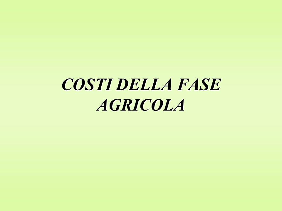 COSTI DELLA FASE AGRICOLA