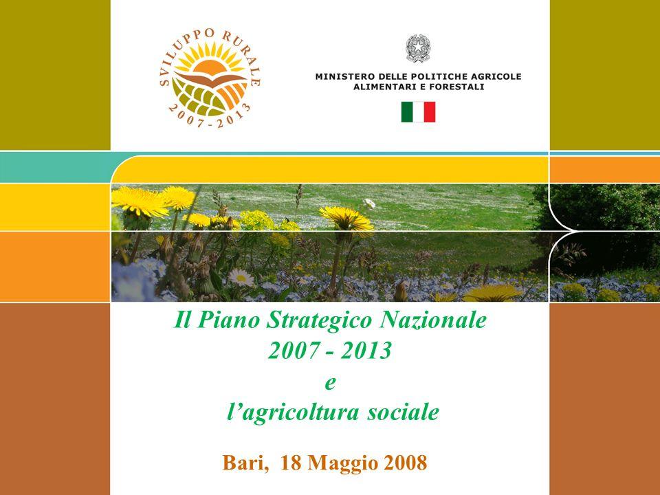 Il Piano Strategico Nazionale 2007 - 2013 e l'agricoltura sociale