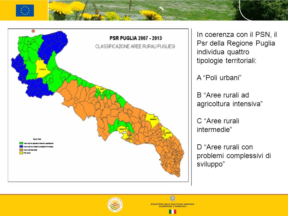 In coerenza con il PSN, il Psr della Regione Puglia individua quattro