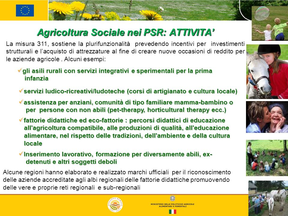 Agricoltura Sociale nei PSR: ATTIVITA'