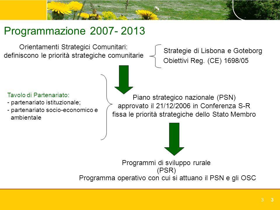 Programmazione 2007- 2013 Orientamenti Strategici Comunitari: