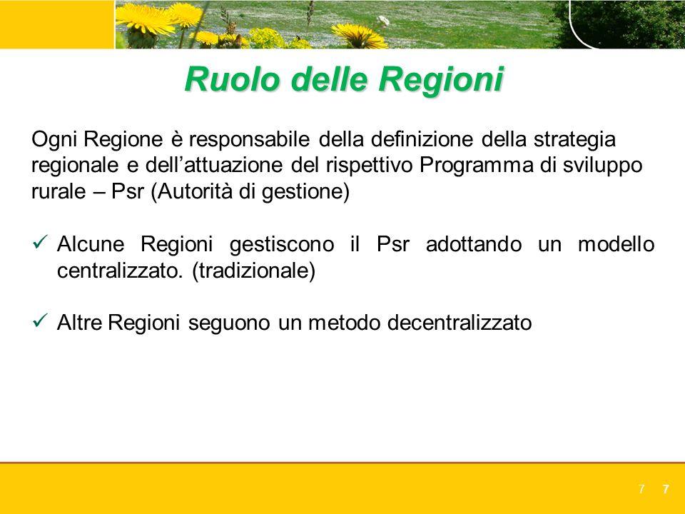 Ruolo delle Regioni Ogni Regione è responsabile della definizione della strategia. regionale e dell'attuazione del rispettivo Programma di sviluppo.