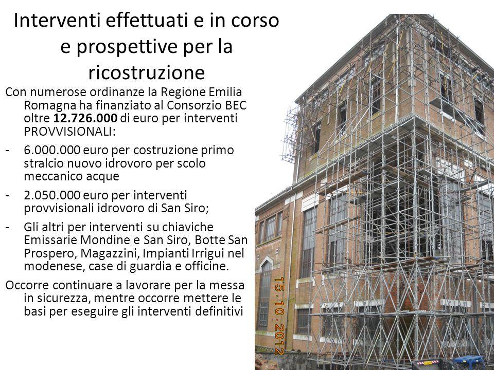 Interventi effettuati e in corso e prospettive per la ricostruzione