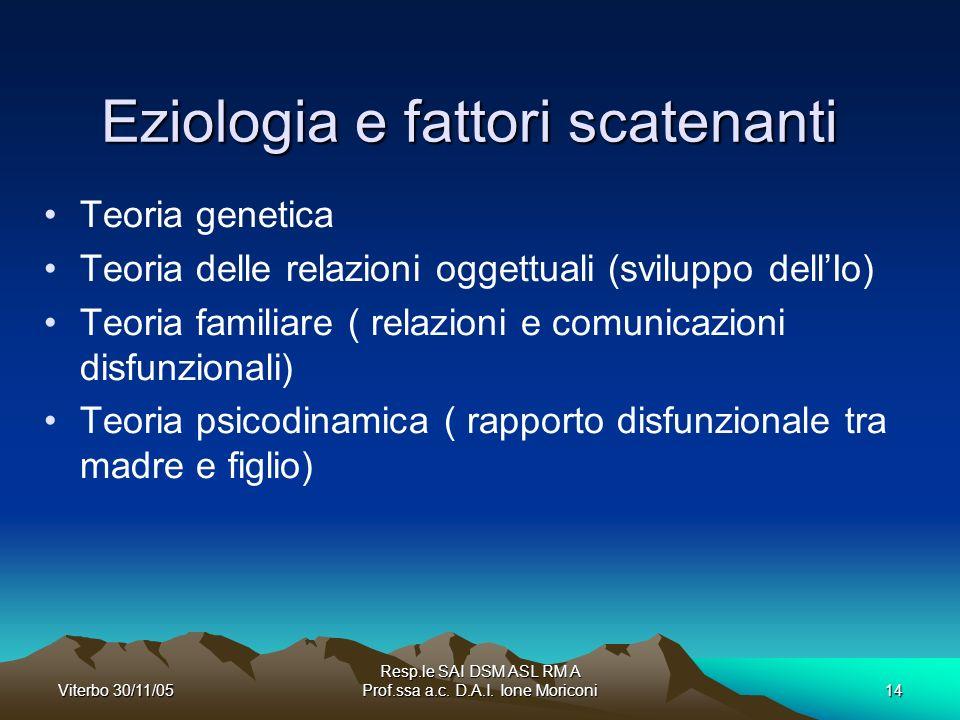 Eziologia e fattori scatenanti