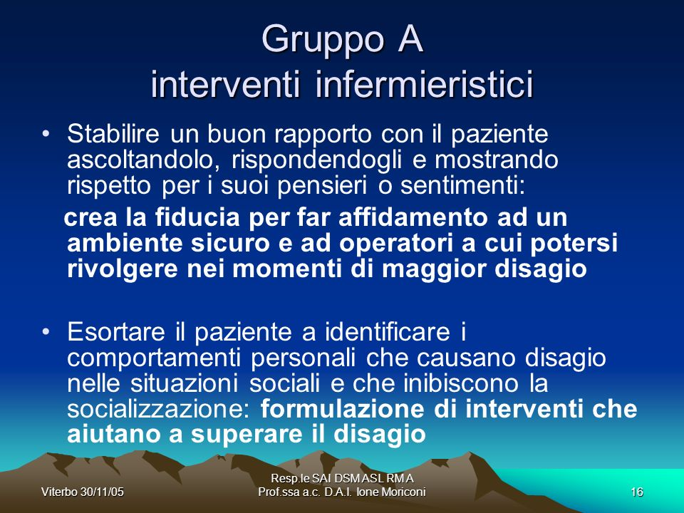 Gruppo A interventi infermieristici