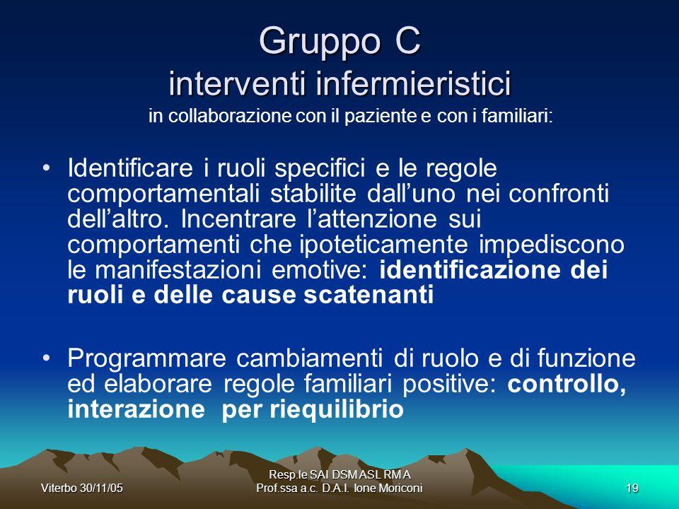 Gruppo C interventi infermieristici