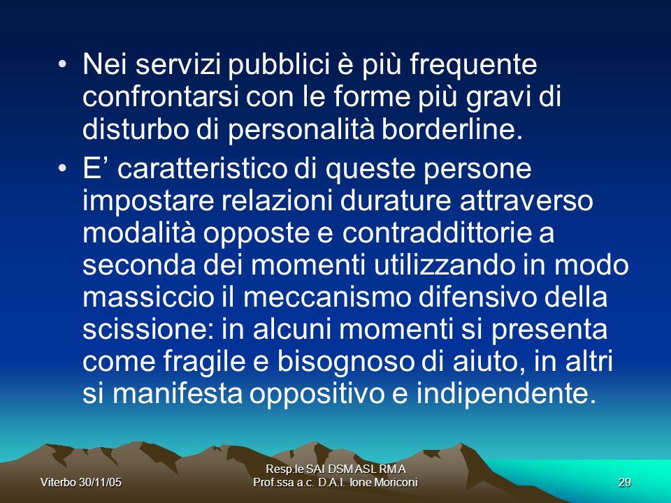 Resp.le SAI DSM ASL RM A Prof.ssa a.c. D.A.I. Ione Moriconi