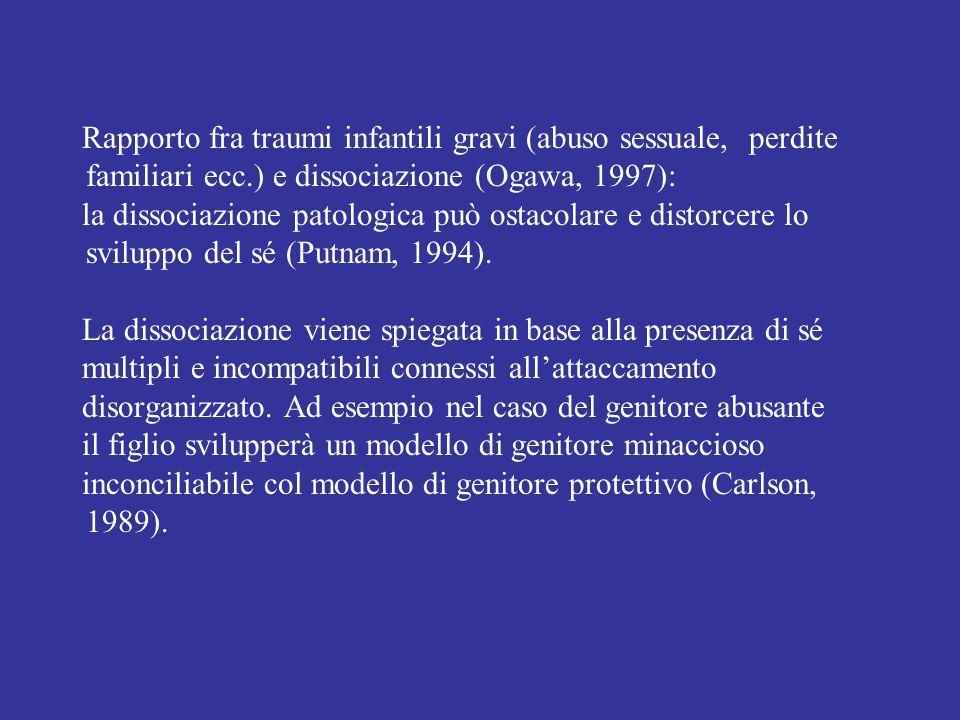 Rapporto fra traumi infantili gravi (abuso sessuale, perdite familiari ecc.) e dissociazione (Ogawa, 1997):