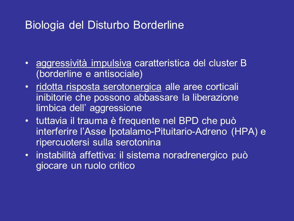 Biologia del Disturbo Borderline