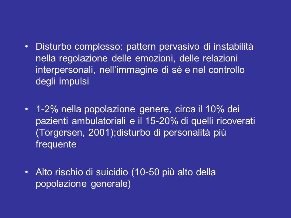 Disturbo complesso: pattern pervasivo di instabilità nella regolazione delle emozioni, delle relazioni interpersonali, nell'immagine di sé e nel controllo degli impulsi