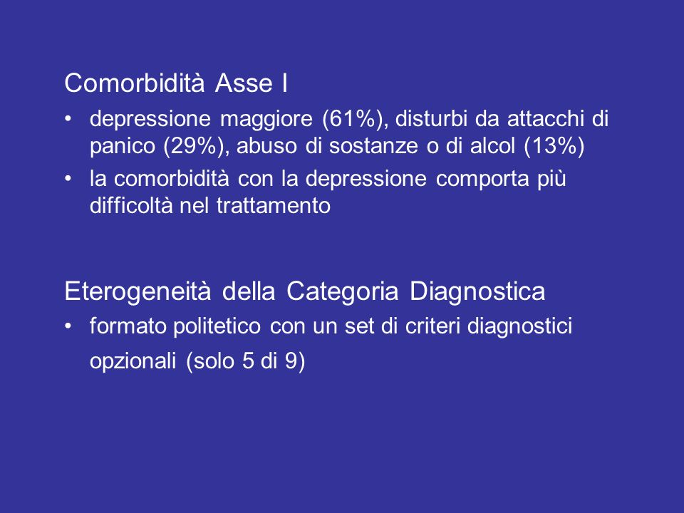 Eterogeneità della Categoria Diagnostica