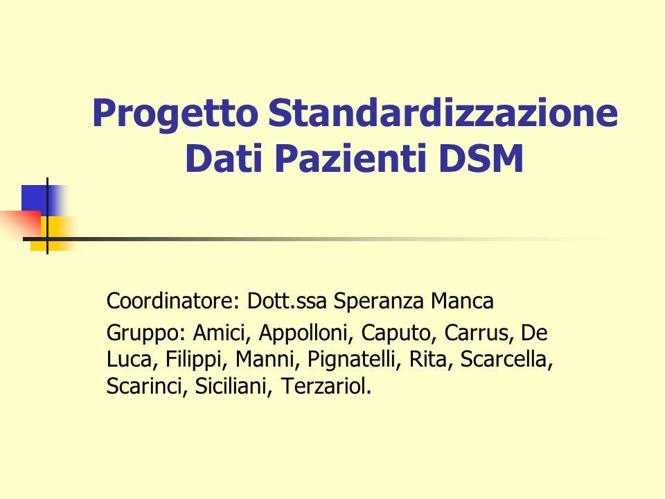 Progetto Standardizzazione Dati Pazienti DSM