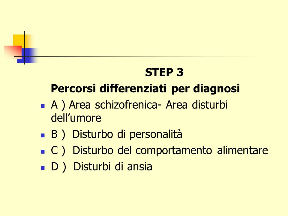 STEP 3 Percorsi differenziati per diagnosi. A ) Area schizofrenica- Area disturbi dell'umore. B ) Disturbo di personalità.