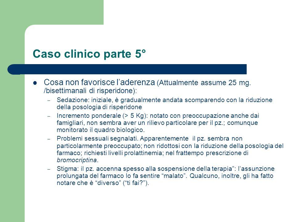 Caso clinico parte 5° Cosa non favorisce l'aderenza (Attualmente assume 25 mg. /bisettimanali di risperidone):