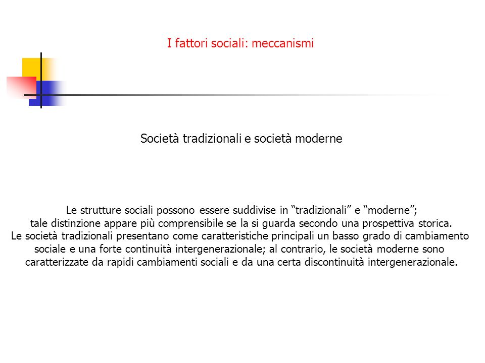 Società tradizionali e società moderne