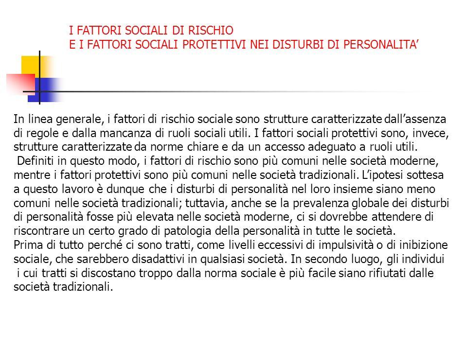 I FATTORI SOCIALI DI RISCHIO