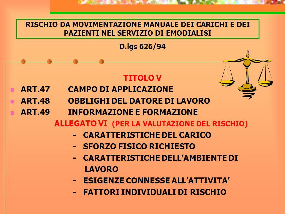 ART.47 CAMPO DI APPLICAZIONE ART.48 OBBLIGHI DEL DATORE DI LAVORO