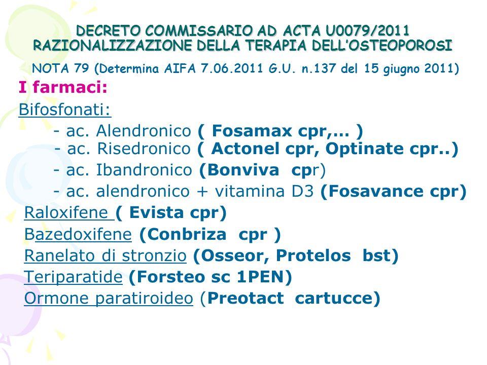 NOTA 79 (Determina AIFA 7.06.2011 G.U. n.137 del 15 giugno 2011)