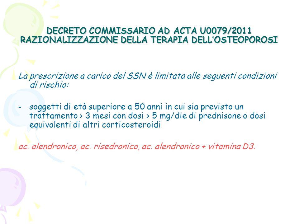 DECRETO COMMISSARIO AD ACTA U0079/2011 RAZIONALIZZAZIONE DELLA TERAPIA DELL'OSTEOPOROSI