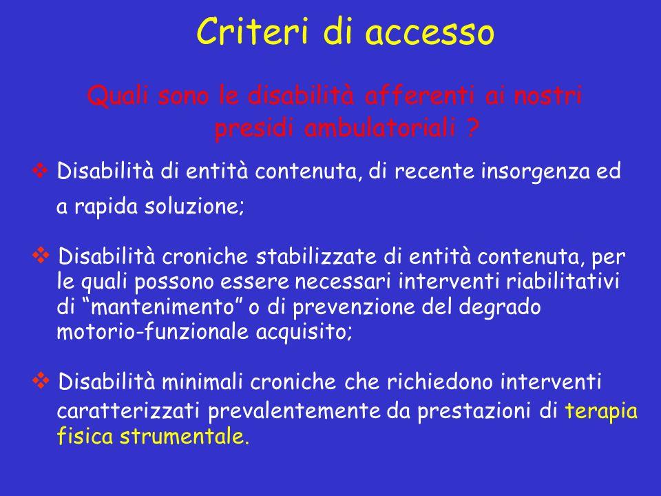 Quali sono le disabilità afferenti ai nostri presidi ambulatoriali