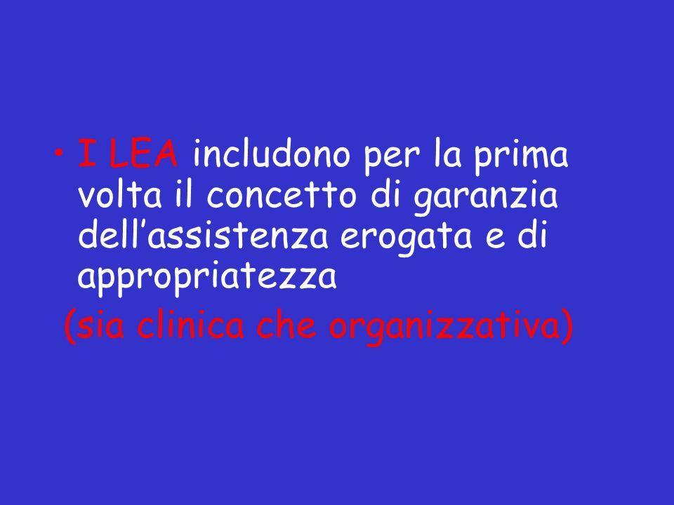 I LEA includono per la prima volta il concetto di garanzia dell'assistenza erogata e di appropriatezza
