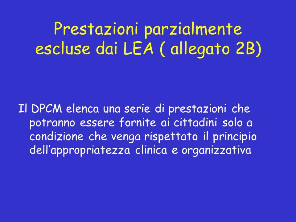 Prestazioni parzialmente escluse dai LEA ( allegato 2B)