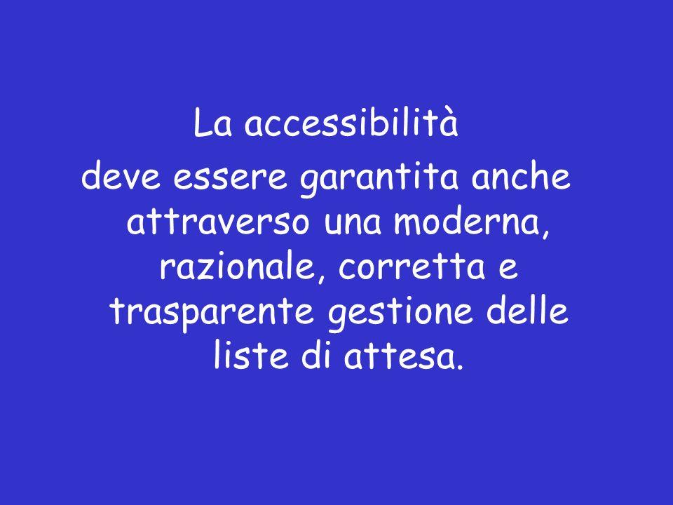 La accessibilità deve essere garantita anche attraverso una moderna, razionale, corretta e trasparente gestione delle liste di attesa.