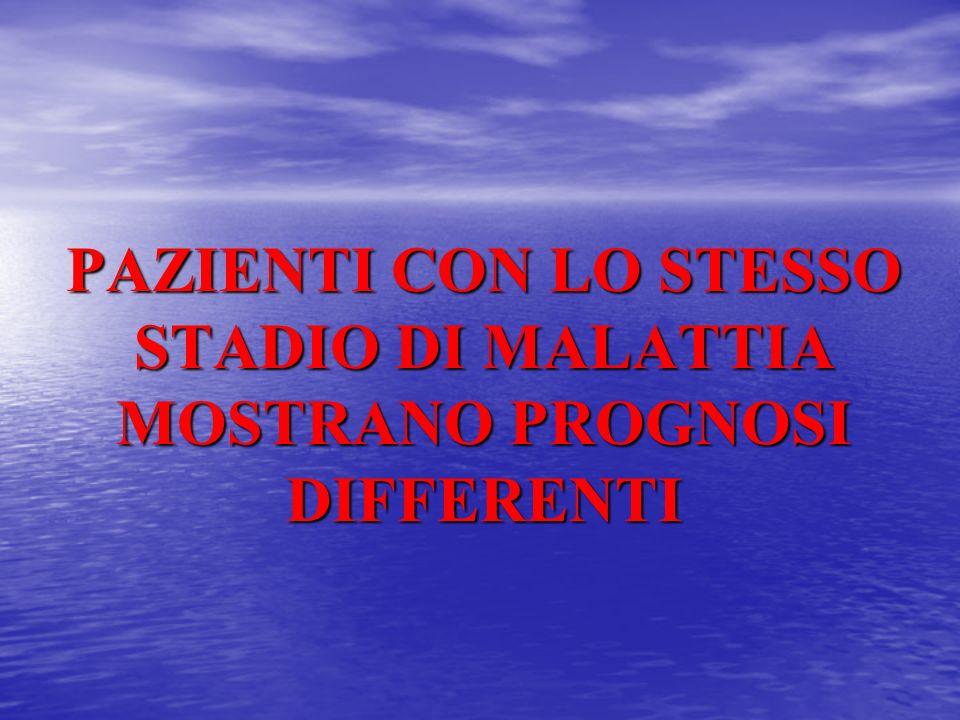 PAZIENTI CON LO STESSO STADIO DI MALATTIA MOSTRANO PROGNOSI DIFFERENTI