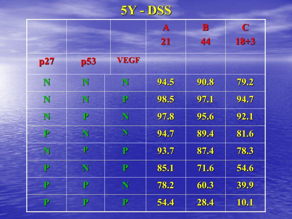 5Y - DSS A. 21. B. 44. C. 18+3. p27. p53. VEGF. N. 94.5. 90.8. 79.2. P. 98.5. 97.1. 94.7.