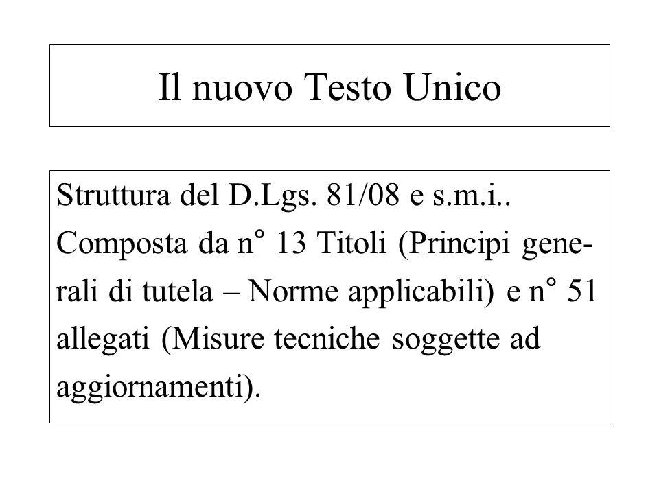 Il nuovo Testo Unico Struttura del D.Lgs. 81/08 e s.m.i..
