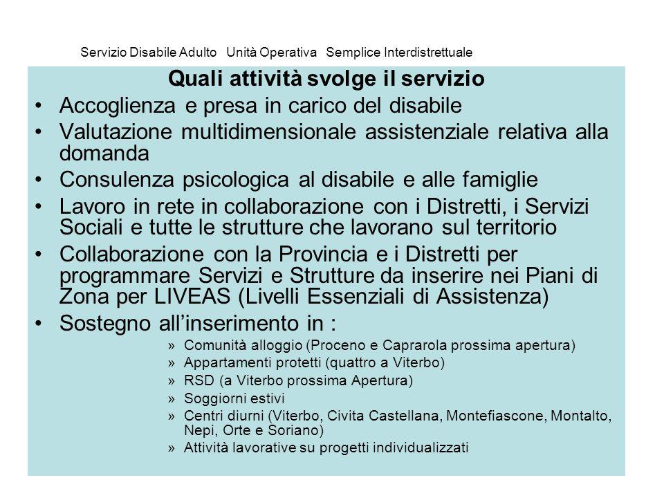 Servizio Disabile Adulto Unità Operativa Semplice Interdistrettuale