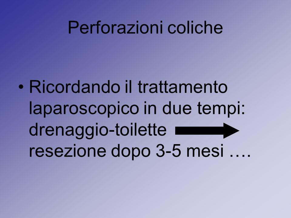 Perforazioni colicheRicordando il trattamento laparoscopico in due tempi: drenaggio-toilette resezione dopo 3-5 mesi ….