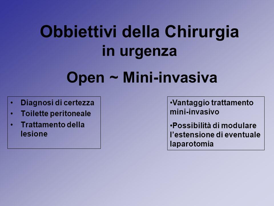Obbiettivi della Chirurgia in urgenza