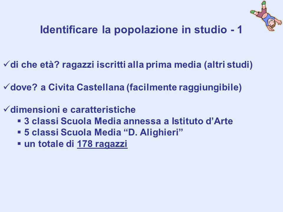 Identificare la popolazione in studio - 1