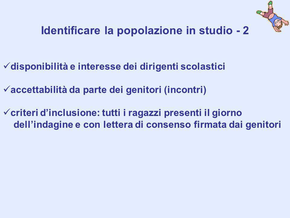 Identificare la popolazione in studio - 2