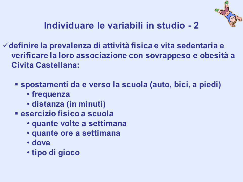 Individuare le variabili in studio - 2