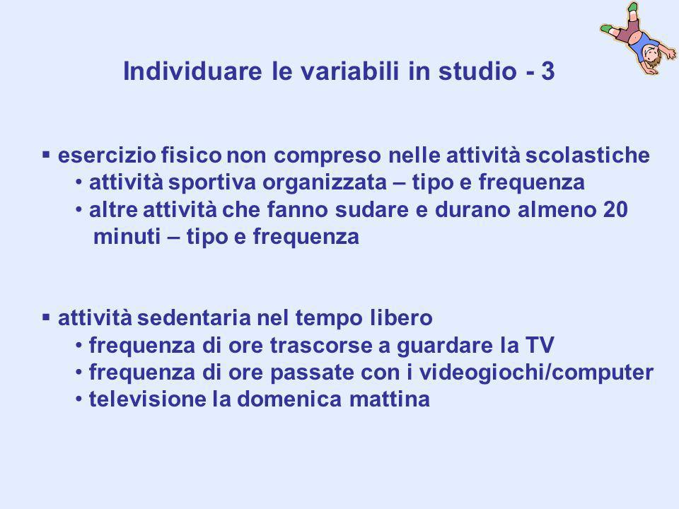 Individuare le variabili in studio - 3