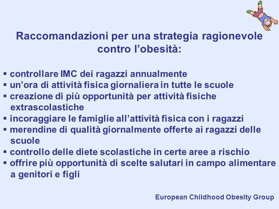Raccomandazioni per una strategia ragionevole contro l'obesità: