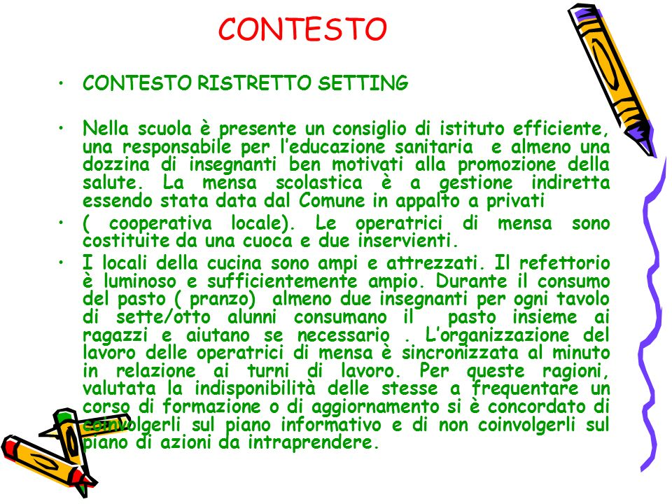 CONTESTO CONTESTO RISTRETTO SETTING