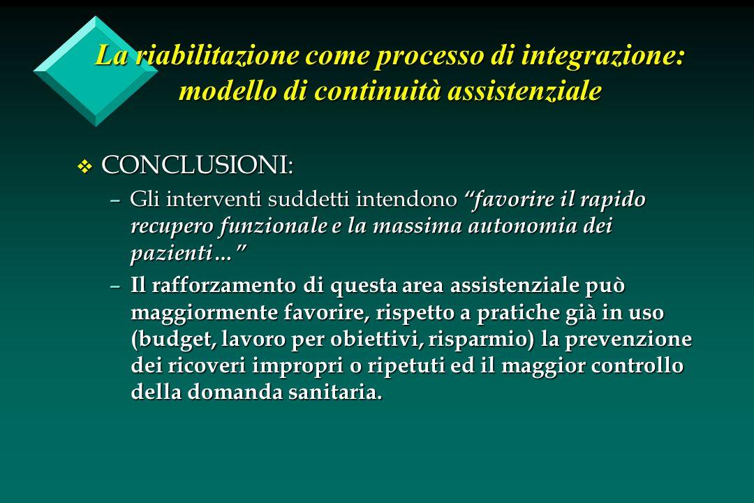 La riabilitazione come processo di integrazione: modello di continuità assistenziale