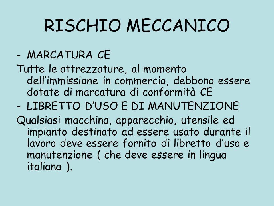 RISCHIO MECCANICO MARCATURA CE
