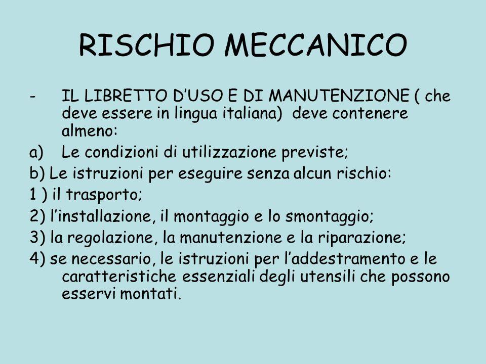 RISCHIO MECCANICO IL LIBRETTO D'USO E DI MANUTENZIONE ( che deve essere in lingua italiana) deve contenere almeno: